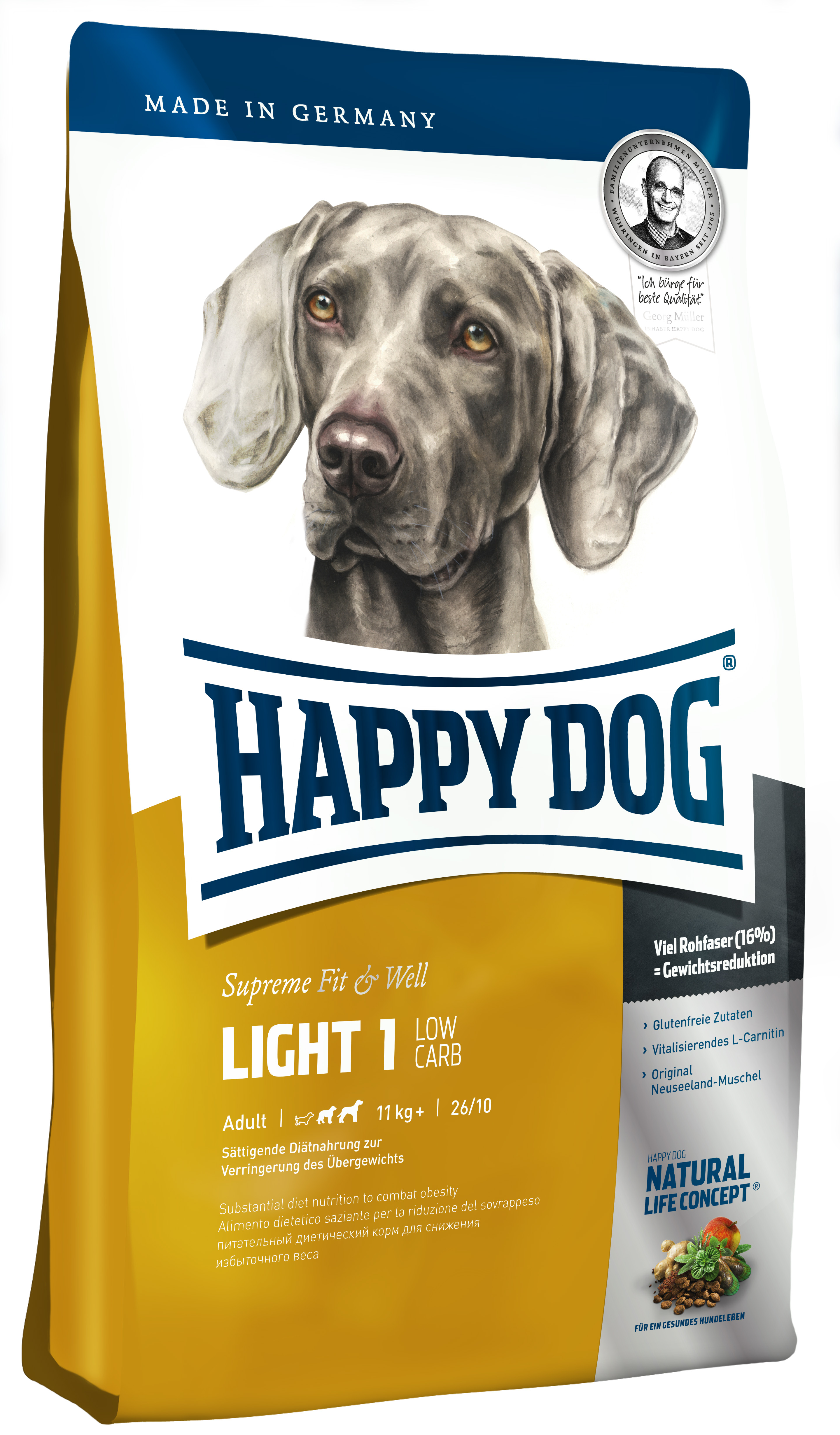 happy dog supreme fit well light1 low carb 1kg zoo co. Black Bedroom Furniture Sets. Home Design Ideas