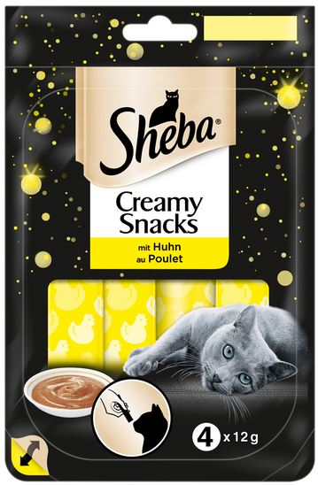 sheba creamy snack 4x12g mit huhn zoo co. Black Bedroom Furniture Sets. Home Design Ideas