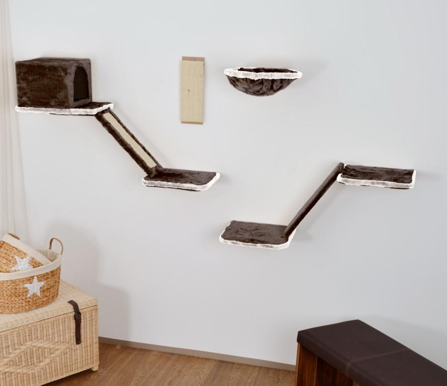 silvio design katzen kletterwand mit treppe 8 teilig in grau zoo co. Black Bedroom Furniture Sets. Home Design Ideas