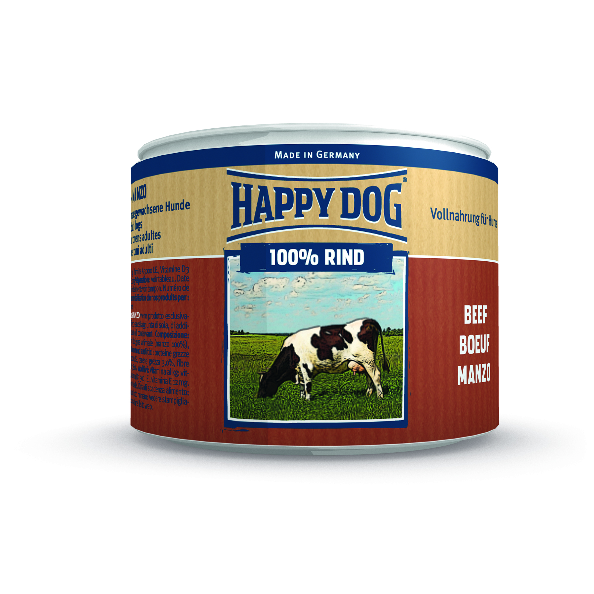 happy dog alleinnahrung rind pur 12x200g dose zoo co. Black Bedroom Furniture Sets. Home Design Ideas